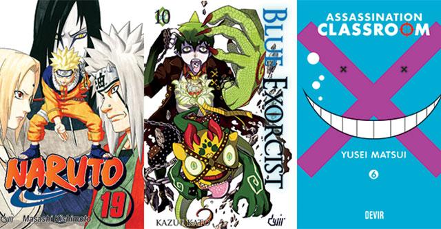 Assassination Classroom 6, Blue Exorcist 10 e Naruto 19 pela Devir