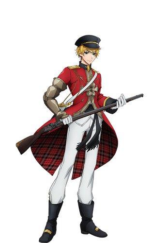 Taku Yashiro como Brown Bess, uma arma de mosquete da Inglaterra que foi usada quando o Império Britânico foi estabelecido