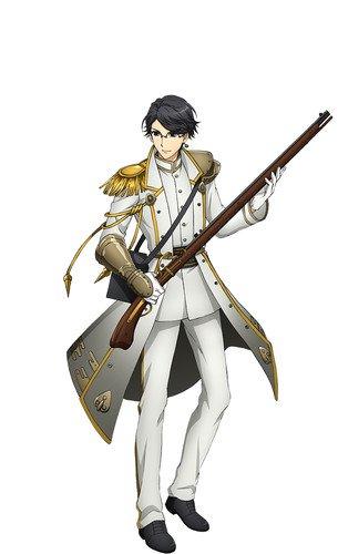 Sōma Saitō como Hidetada, baseado numa arma de fogo usada por Tokugawa Hidetada