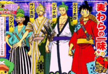 Mais uma imagem do design de personagens do arco Wano de One Piece