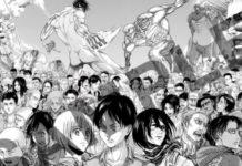 Arte da exposição dos 10 anos de Attack on Titan